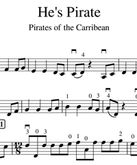 Notes for strings - violin, viola, cello, double bass. He's a Pirate!.