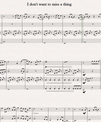 Notes for strings - violin, viola, cello, double bass. I Don't Want to Miss a Thing.