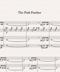 Notes for strings - violin, viola, cello, double bass. The Pink Panther Theme.