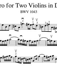 Notes for strings - violin, viola, cello, double bass. Concerto for Two Violins in D Minor (BWV 1043).