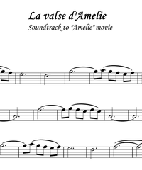 Notes for strings - violin, viola, cello, double bass. La valse d'Amelie.